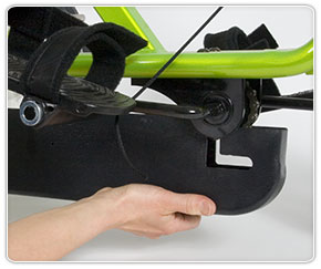 Removing front of bottom cover on an adaptive tricycle