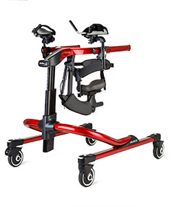 A red Rifton Pacer XL gait trainer with arm, chest, hip, and thigh prompts which may be used in the ICU