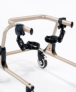 A champagne Pacer gait trainer with the thigh prompts mounted on the upper bars