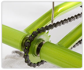 Distribute oil evenly on Rifton adaptive tricycle bicycle chain