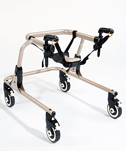 The Rifton Pacer gait trainer hip positioner with positioning straps and mounts