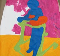 A painting of a child with special needs colored in blue in a green gait trainer set against a yellow and pink background.