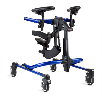 The new Rifton Dynamic gait trainer, shown in the color blue, is more than just a walker