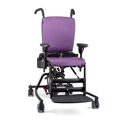 A red Hi/Lo base Rifton Activity Chair