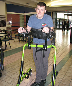 David takes a walk unassisted in his Rifton Pacer Gait Trainer as he works to recover from an anoxic brain injury
