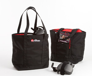 Two Rifton black nylon tote bags stuffed with pacer gait trainer accessories
