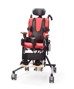 A Rifton Activity Chair in red with positioning accessories raises the design standards bar for products for disabled people
