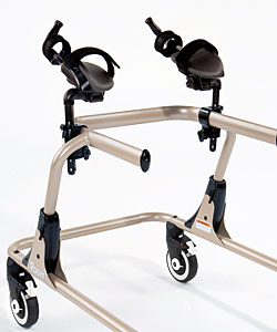 A Rifton Pacer gait trainer frame with two arm prompts correctly mounted on the top bar