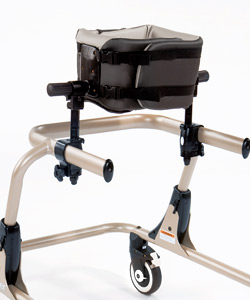 A champagne Rifton Pacer gait trainer frame with the chest prompt mounted on the side bars