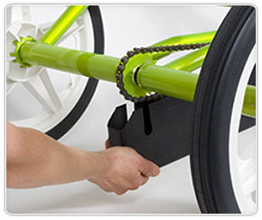 Removing the bottom cover from an adaptive special needs bike for kids