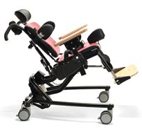A red Rifton Activity chair, used for positioning children with special needs