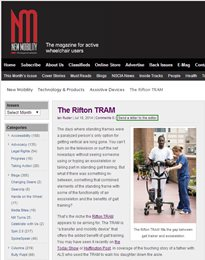 A screenshot of New Mobility's article on Rifton's TRAM.