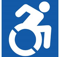 The new logo from the Accessible Icon project shows an active person with disabilities demonstrating mobility.