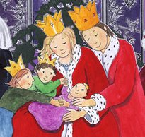 In this drawing from the book, The Prince Who Was Just Himself, the King and Queen hug with loving acceptance their baby with Down syndrome why his siblings hold his hands.