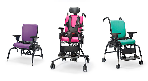 Three new Rifton Activity Chair colors: purple, pink and green.