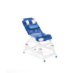 A Rifton Blue Wave bath chair on a tub stand